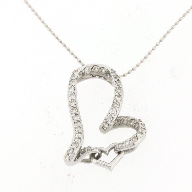 【商品名】K18WG ホワイトゴールド ダイヤ  0.50ct ネックレス ハートモチーフ【価格】¥51,800【状態】A  多少の傷・汚れが見受けられますが、全体的には綺麗な状態の中古商品です。