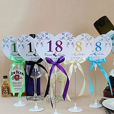 Flower Heart Shape Table Number Cards With Holders - Set Of 10(More Colors) – GBP £ 13.36