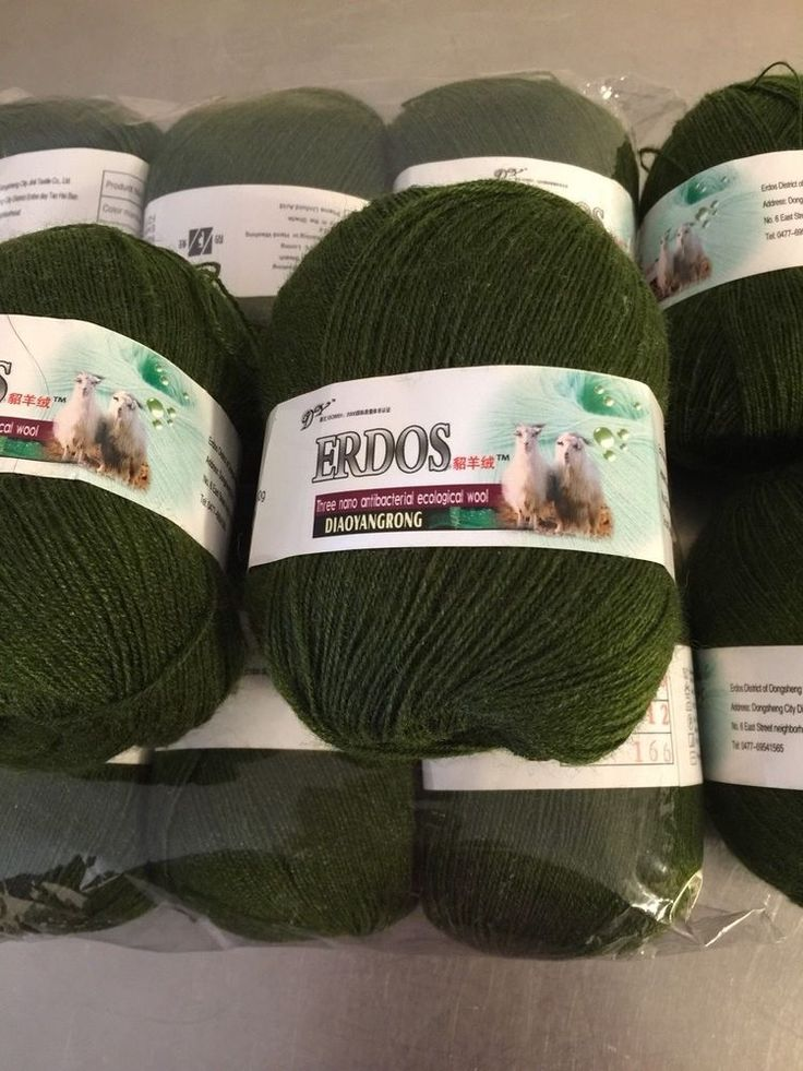 Erdos Fingering Yarn 10 Balls 50g Dark Green Cashmere Wool Acrylic Made China #Erdos #Lace