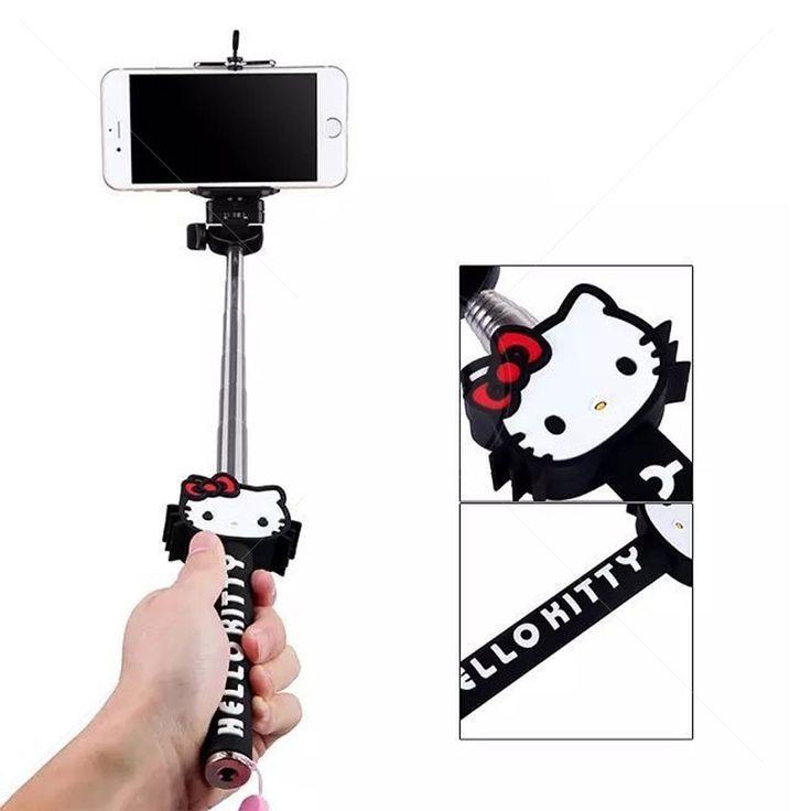 Kit Bastão de Mão Monopod para Selfie Hello Kitty + Controle Bluetooth