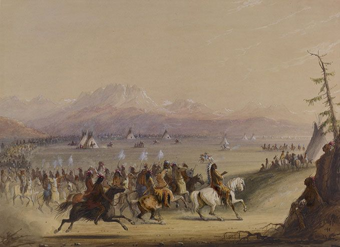 """Cavalcade,"" by Alfred Jacob Miller. MIller was the only artist to record images of the fur-trade rendezvous first hand. Here, Shoshone warriors parade around camp."