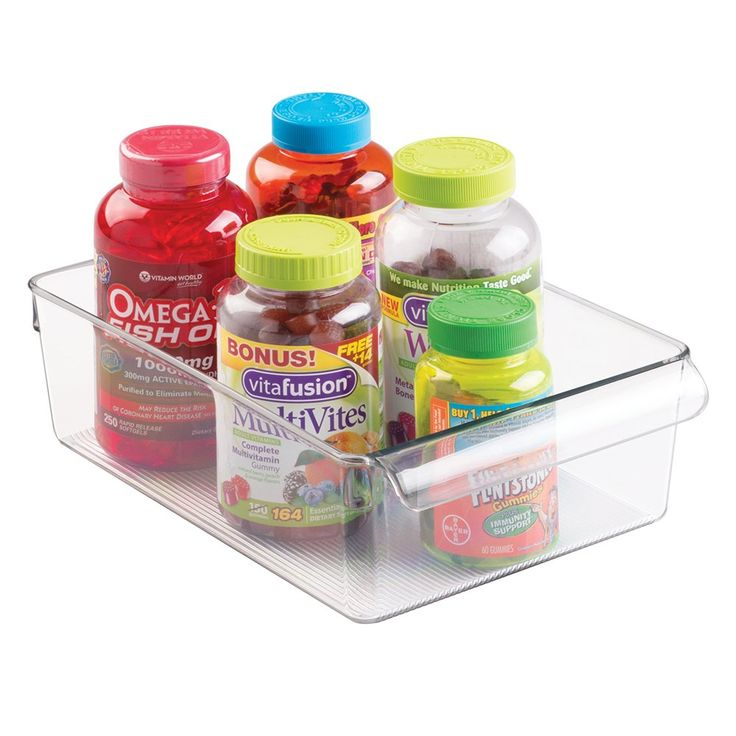 mDesign Storage Bin Organizer for Vitamins, Medicine, Medical, Dental Supplies - Large, Clear