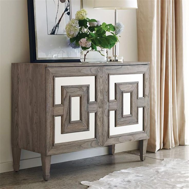Alison Modern Classic Antique Mirror Teak Accent Chest | Kathy Kuo Home