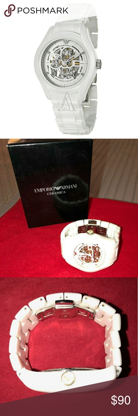 Emporio Armani ceramic watch Emporio Armani unisex ceramic watch. Has a small scratch on the face, it's not noticeable unless you really look. Needs battery. Comes with box and extra links for sizing. Emporio Armani Accessories Watches