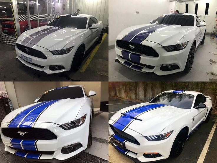 Mustang recommended White Blue Racing Stripes Stickers | 2017 S550 White Mustang | Mustang ...