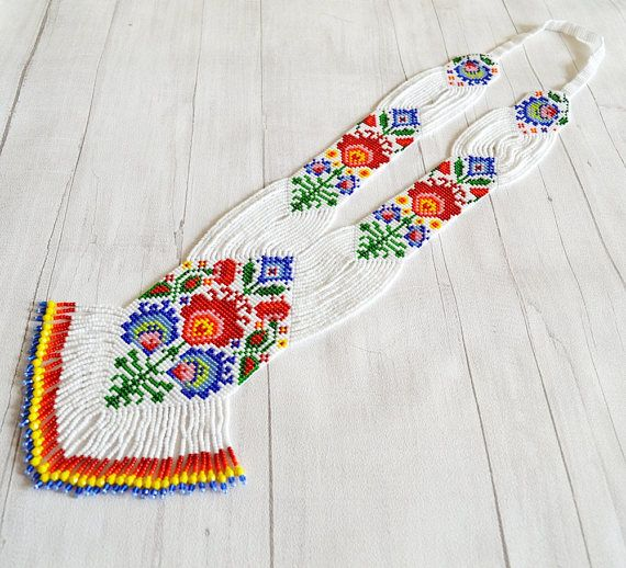 Łowicz gerdan necklace Long necklace Ukrainian folk style