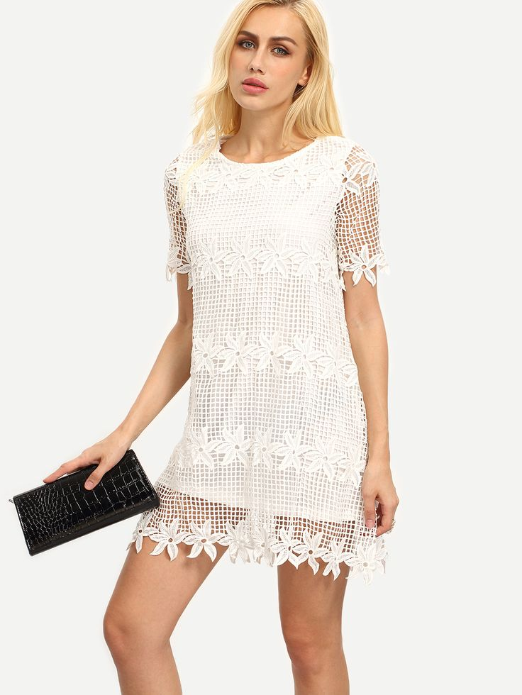 Shop White Crochet Trim Lining Shift Dress online. SheIn offers White Crochet Trim Lining Shift Dress & more to fit your fashionable needs.