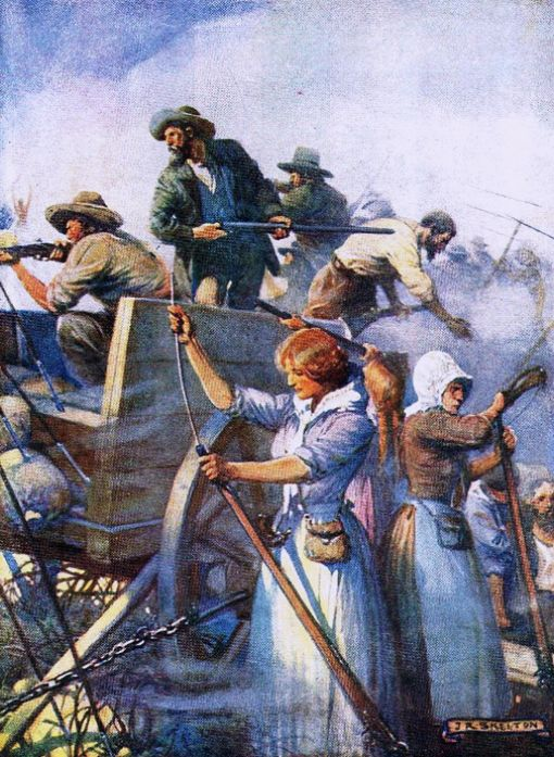 Skelton, Joseph Ratcliffe (b,1865)- Boers Battle During 'Great Trek', Woman Reloading