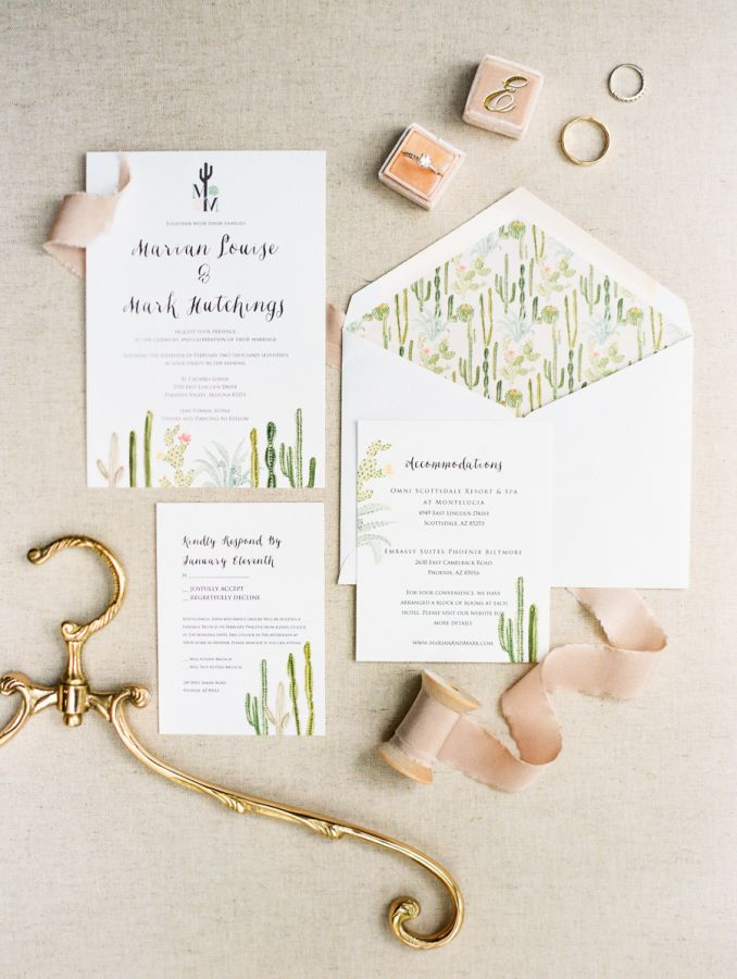 Blush desert wedding invitation suite: http://www.stylemepretty.com/2017/04/28/romantic-lush-arizona-wedding/ Photography: Rachel Solomon - http://rachel-solomon.com/
