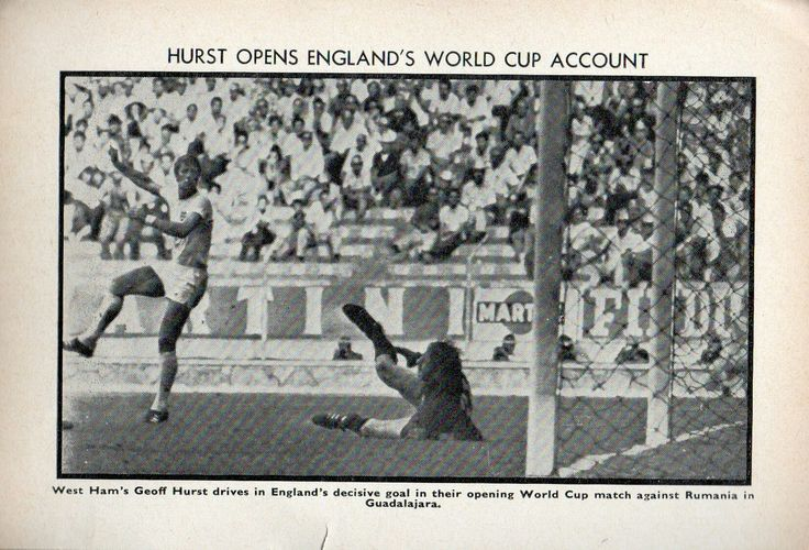 England 1 Romania 0 in 1970 in Guadalajara. Geoff Hurst scores the only goal in this Group 3 match at the World Cup Finals.