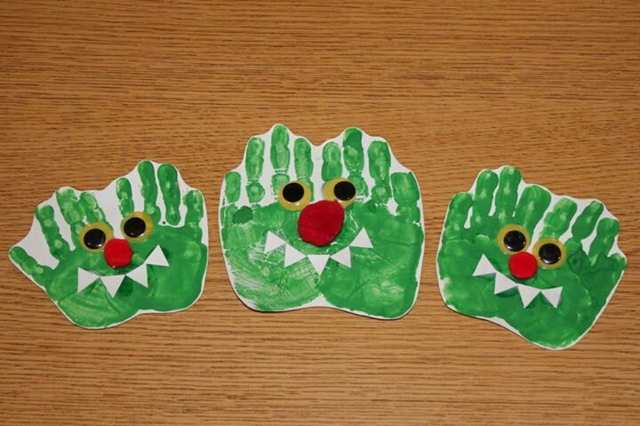 Hand handprint monster. You could decorate it to look like the book go away Big Green Monster .  it would be a nice craft add on after reading the book