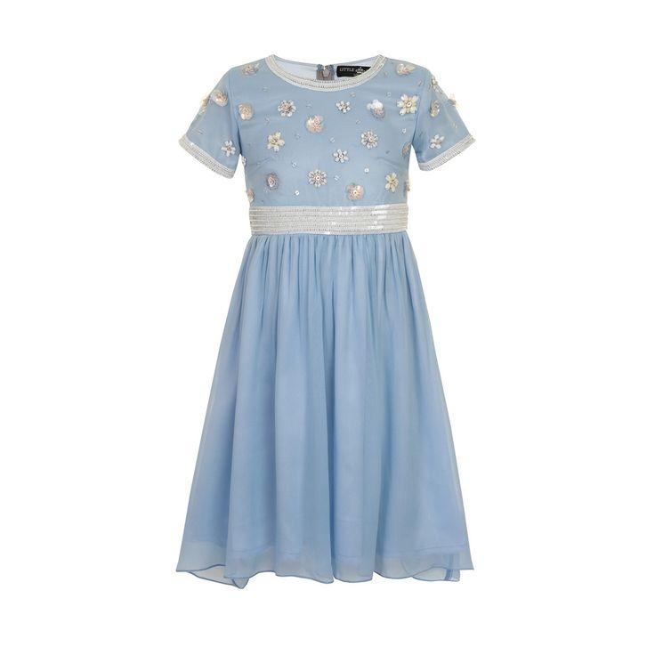 Little Misdress Blue embellished floral party dress- at Debenhams.com