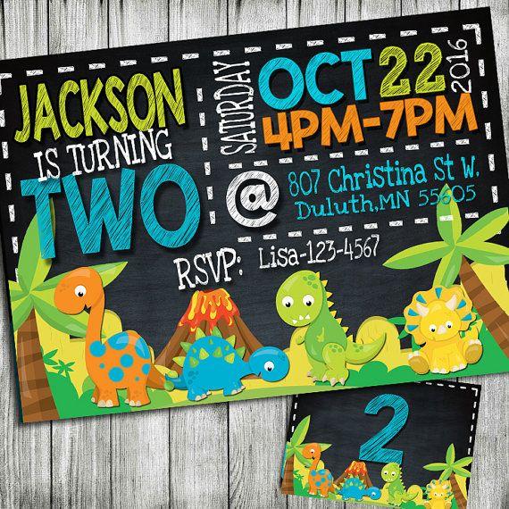 invitación del cumpleaños del dinosaurio por JcoInvitations en Etsy