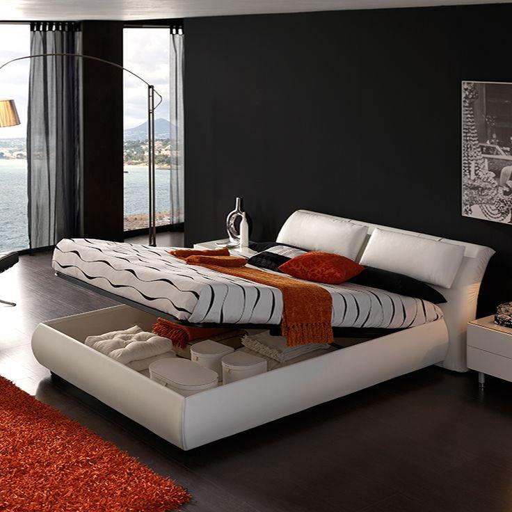 Lit coffre blanc en cuir et PU design LIBERTY