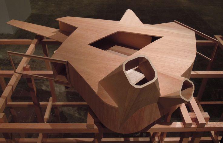 Claraboias e átrio central - Modelo em madeira