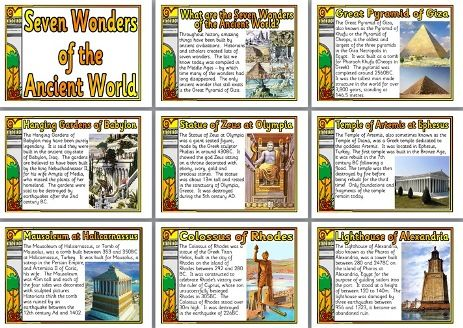 SEVEN WONDERS of the ANCIENT WORLD: history teaching resource - free printable classroom display posters