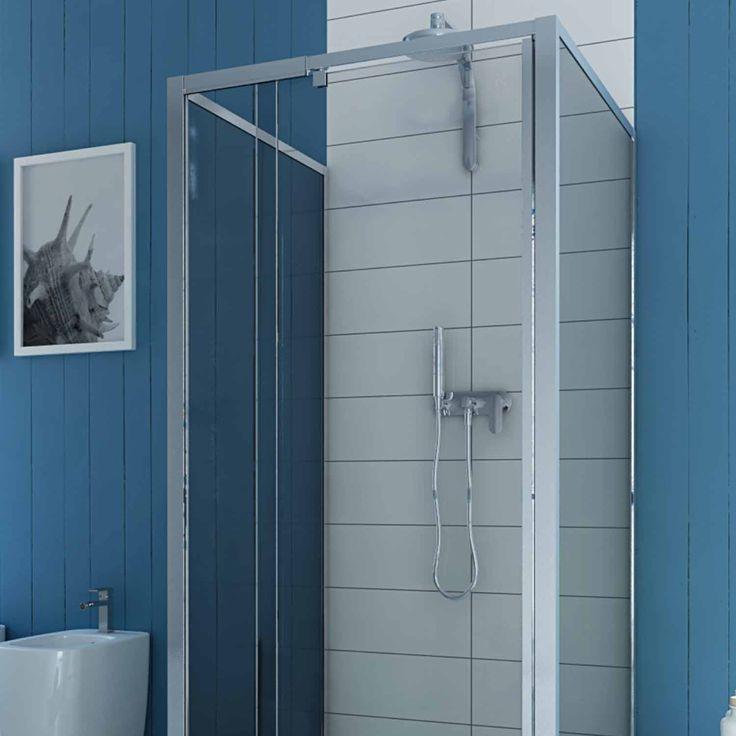 blue glass shower | DUSCHKABINE DUSCHABTRENNUNG U FORM ECHTGLAS PENDELTÜR 2 SEITENWÄNDEN ...