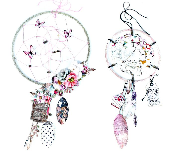 """""""I LOVE creating dream catchers, well, my own personal spin on them. These are in no way meant to be """"traditional"""" or anything, just me having fun! The Rossibelle papers had so many feathers in the images, I was immediately inspired to create with it! By the way, the foiled sheets???? WOW! They really make the feathers and other elements pop!"""" ~ Miranda Edney"""