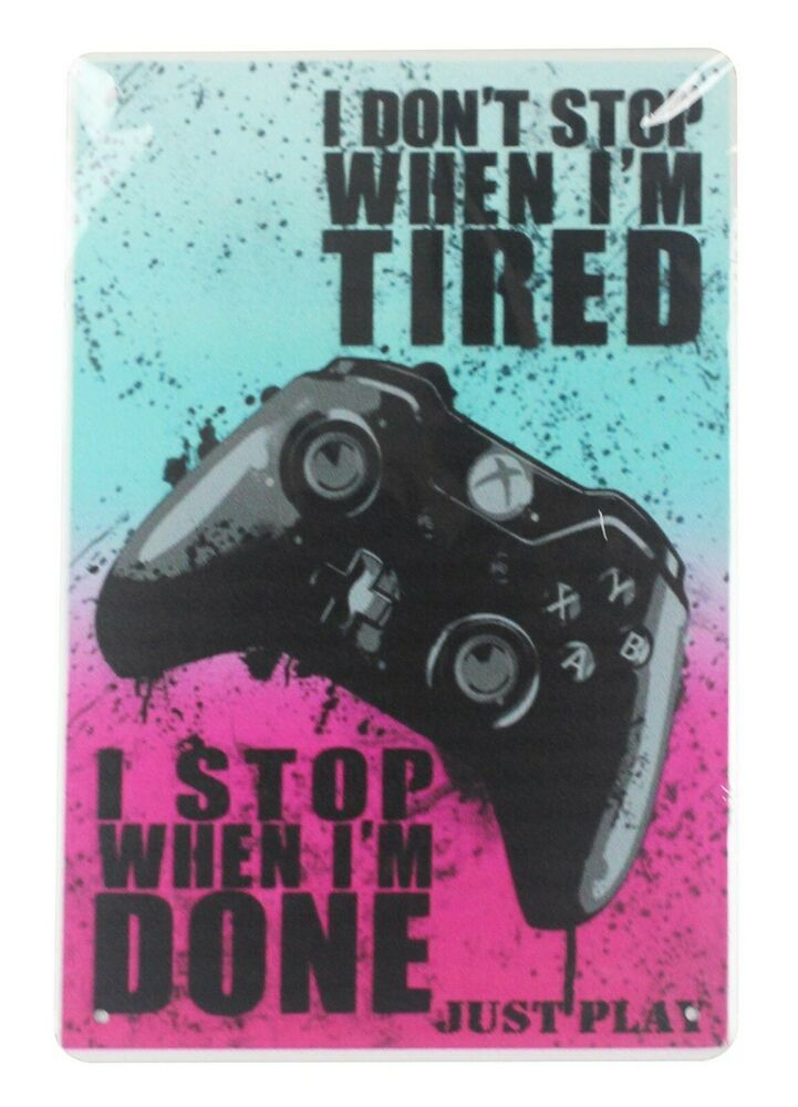 Just Play Gaming Tin Metal Sign Dorm Room Wall Art Video Game Quotes Gamer Quotes Video Game Art