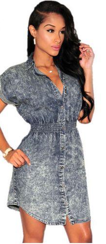 Summer Short Sleeves Collared casual shirt Style Denim Dress women Ladies jeans vestido