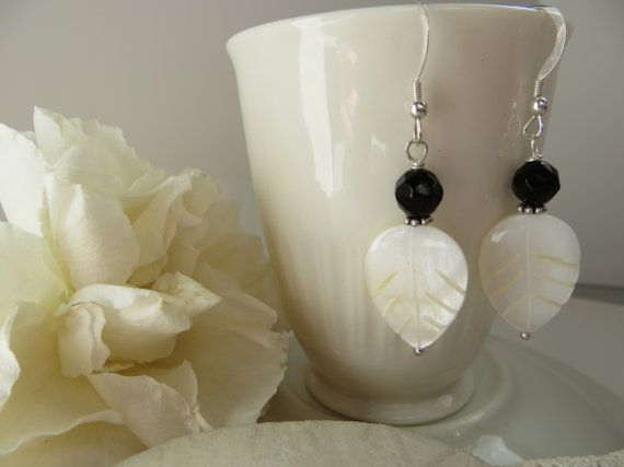 Mother of Pearl hand carved leaf earrings Faceted Black Onyx