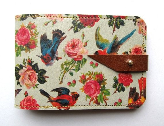 Leather card case/ Oyster card holder  Birds & Roses by tovicorrie