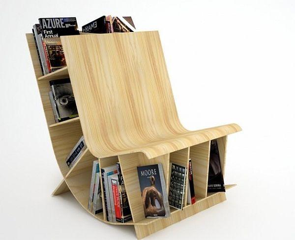 Chaise avec rangements livres
