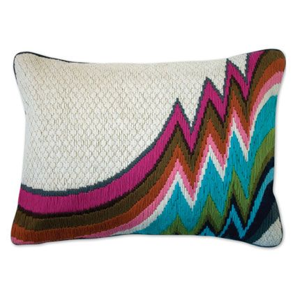 Not Missoni - Bargello Jamaica Lane Pillow by Jonathan Adler: With velvet reverse and feather/down insert. $120 #Pillow #Bargello #Jonathan_Adler