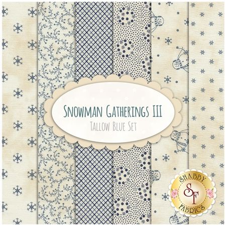 Snowman Gatherings III  6 FQ Set - Tallow Blue Set by Primitive Gatherings for Moda Fabrics