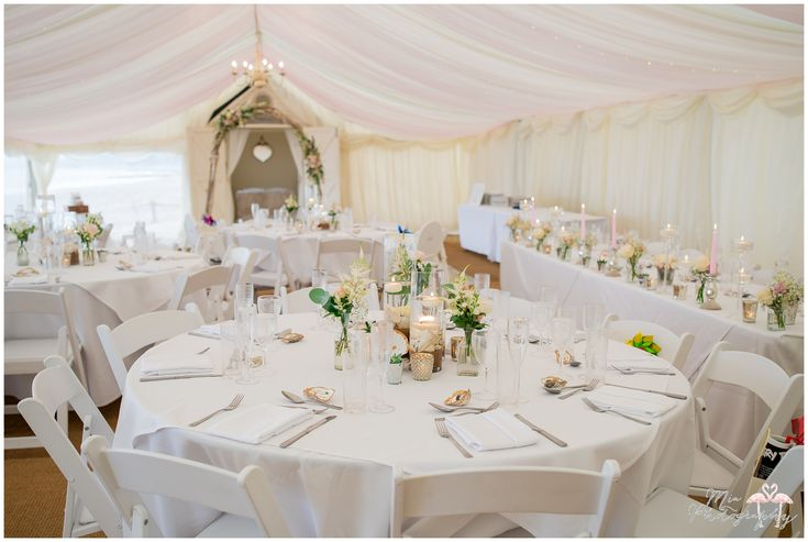 Our venue all pretty in pink ready for Claire and Matt's wedding breakfast. Image credit: Mia Hooper Photography