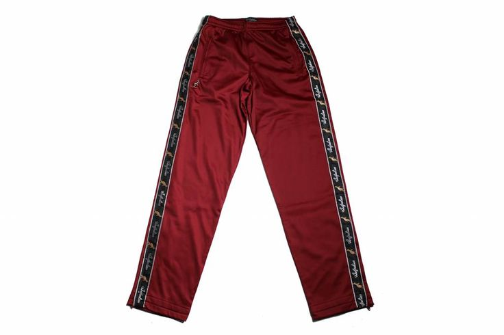 Australian Pantalon Triacetat with black piping, for men. The burgundy red color is soft to the eye and the pants itself is soft to the touch.