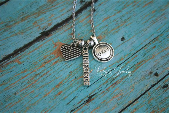 Personalized necklace Proud Air Force mom by YourRiley5Jewelry