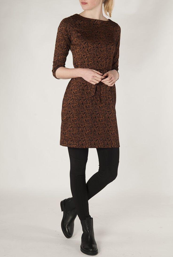 King Louie Zwarte jurk met koperen dessin Zoë dress 00474 - Winter Sale