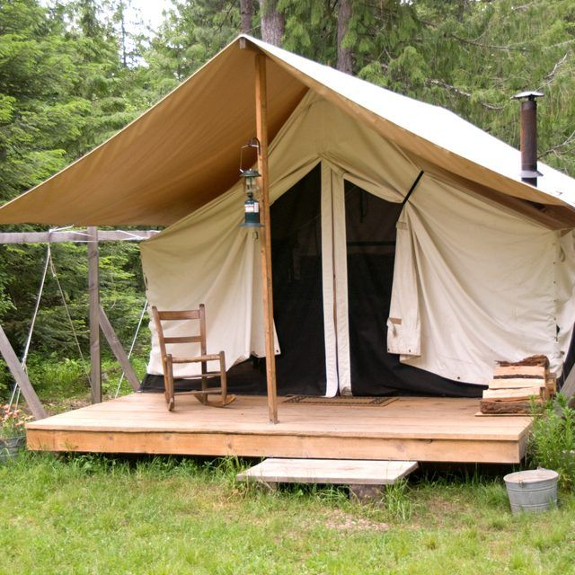 A camping platform gets you up off the ground and on a level surface.