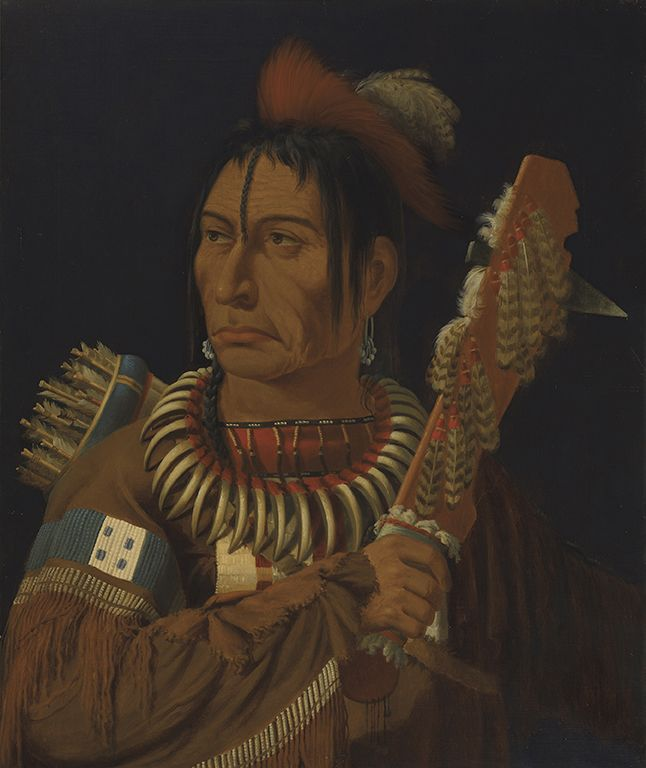 """Paul Kane's oil paintings reinforce the trope of the """"noble savage,"""" a stereotype that was a product of the Western world's Romantic vision of indigenous people. """"Head Chief of the Assiniboines (Portrait of Mah-min),"""" Assiniboine, c. 1849–56, Royal Ontario Museum."""