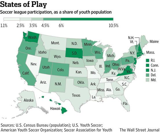 A Map That Shows The Percent Of Kids Who Play Soccer In Each State - Maps soccer