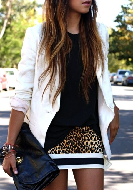 What a chic outfit; the leopard skirt is really striking. Blazer is from H&M, tank is Theory, skirt is Dolce & Gabbana, sandals are from Report, clutch is Marc by Marc Jacobs, and bracelet is Banana Republic.