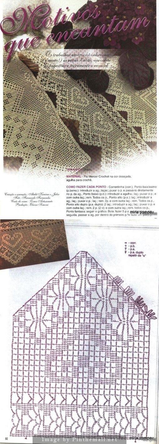 Filet crochet edging hearts & spider ~~ Crochet magazine: Barradinhos em crochê ~~ http://make-handmade.com/2011/07/06/crochet-edging-magazine/