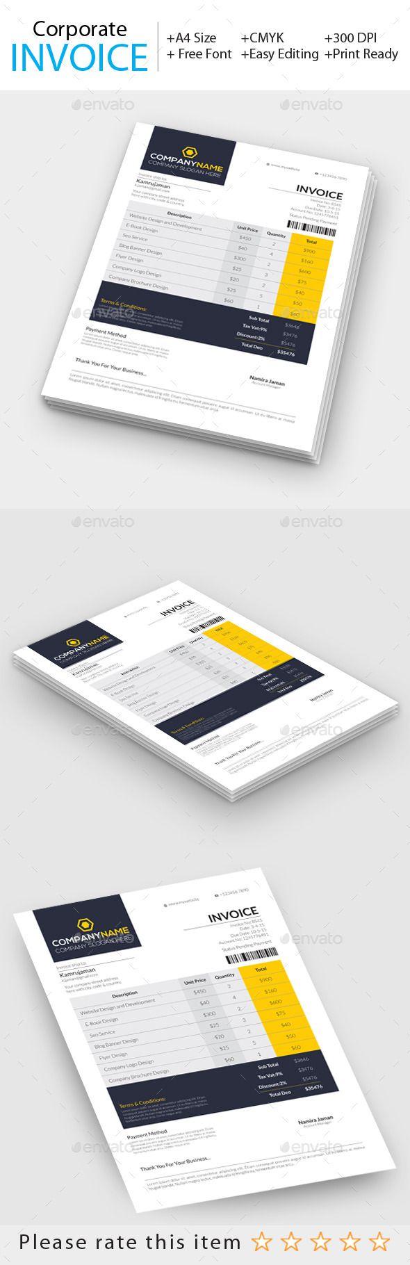 Corporate Invoice Template #invoice #design Download: http://graphicriver.net/item/corporate-invoice/11255210?ref=ksioks