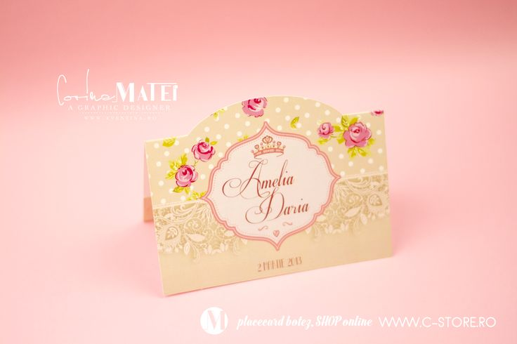 """Placecard Botez """" Roses """" Made by graphic Designer Corina Matei 
