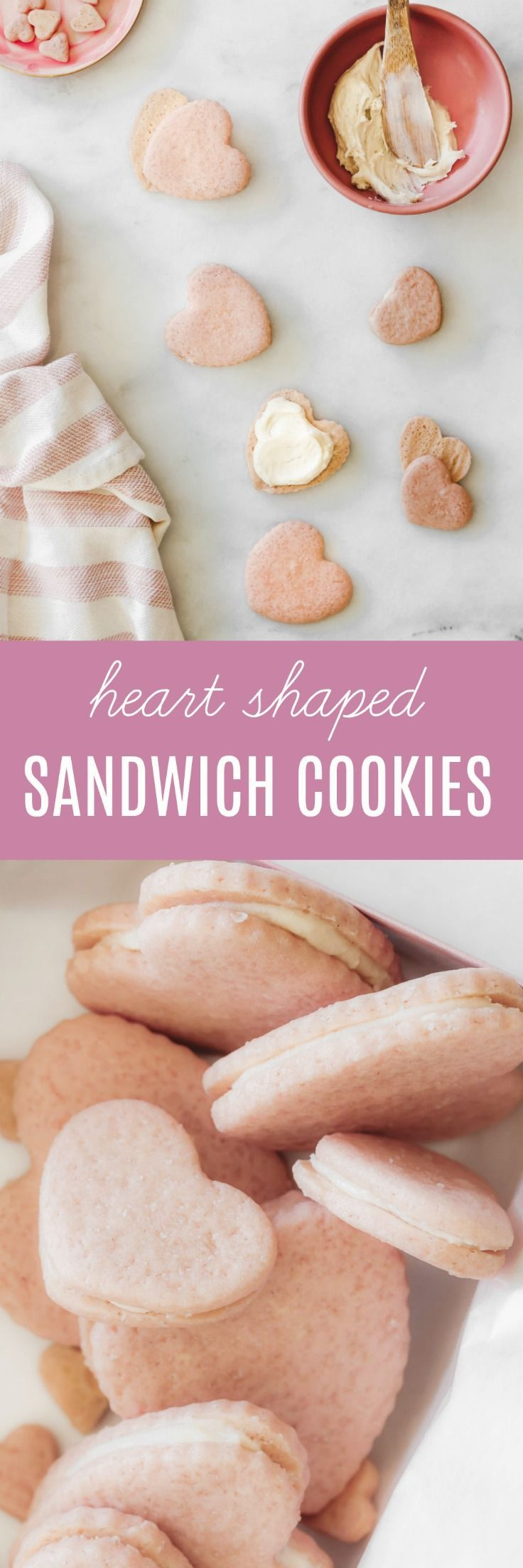 YumThese unapologetically sweet heart shaped sandwich cookies are naturally dyed the prettiest shade of pink and filled with a simple vanilla buttercream frosting.