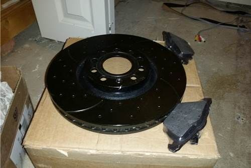 B7 A4 Front Drilled and Slotted Performance Brake Rotors and Pads - Black