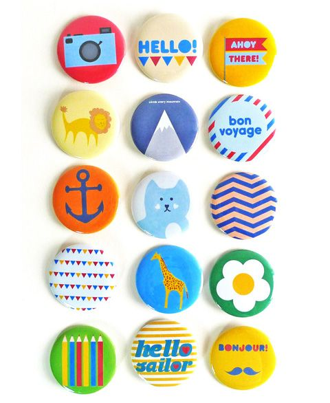 More badges I just had to pin.: Prints Pattern, Buttons Badges Design, Badges Parties, Birthday Parties, Teas Ceremonies, Badges Colors, Badges Ideas, Parties Pack, Happy Badges