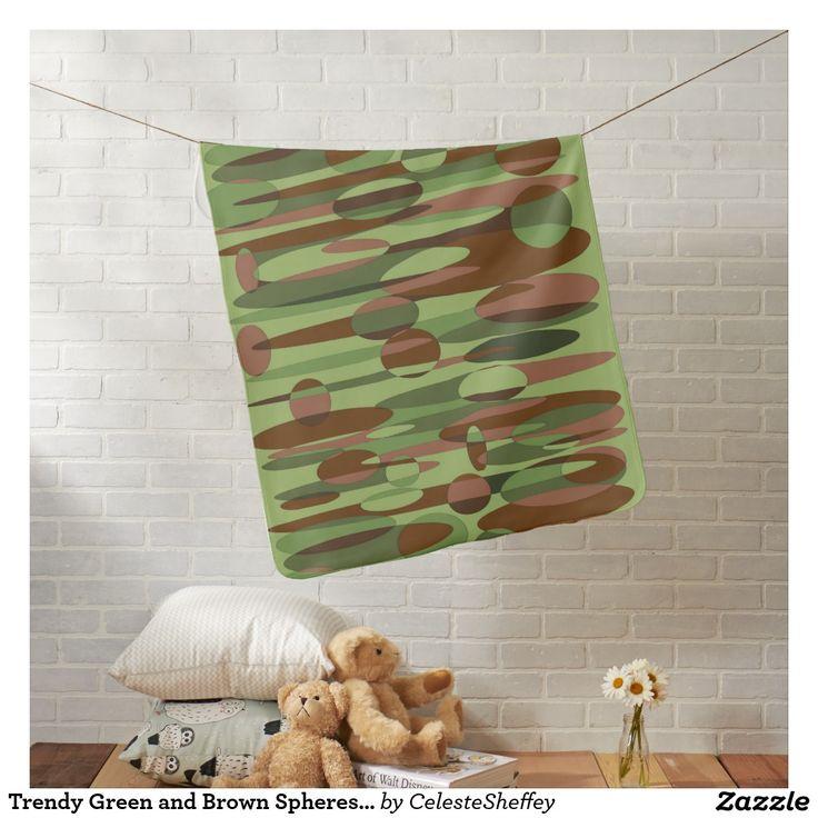 Trendy Green and Brown Spheres Baby Blanket