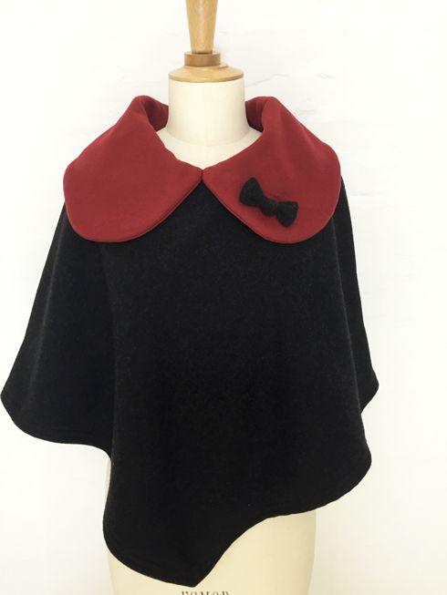 cape femme col croisé noeud laine cachemire liberty mode vintage carreaux hiver couture création british gris framboise rouge