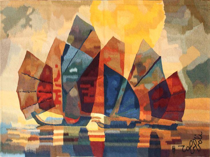 Lot : Louis TOFFOLI (1907-1999)  - Les jonques.   - Tapisserie d'Aubusson. tissée à la[...] | Dans la vente Art Moderne et Contemporain - Livres - Estampes - Tableaux & Sculptures à Cannes Enchères