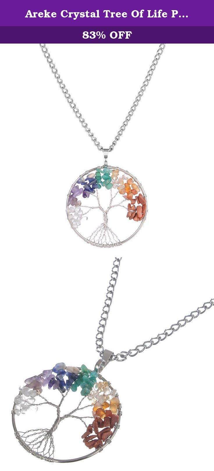 Areke Crystal Tree Of Life Pendant Chain Necklace for Men Women - Amethyst Chakras Gemstone Charms Color Silver. AREKE - High quality Jewelry Discover the AREKE Collection of jewelry. The selection of high-quality jewelry featured in the AREKE Collection offers Great values at affordable Price, they mainly made of high quality Stainless Steel, Tungsten, Silver and Leather. Find a special gift for a loved one or a beautiful piece that complements your personal style with jewelry from the...