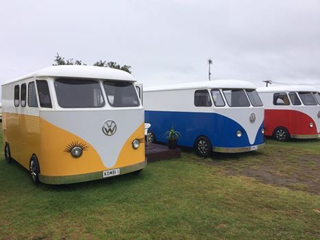 Motuopa Bay Holiday Park on the eastern shore of lake Taupo have new cabins - a fleet of VW camper van lookalikes