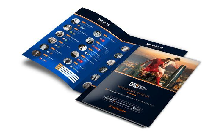 Conception et réalisation du dépliant A5 lors du EURO-LATAM Sports Marketing Summit 2016. Des speakers de club de Football et d'agences diverses dédiées au monde sportif tels que le FC Valence, Ticketing3D, Blinkfire, Cruyff Institute, Boca Juniors, River Plate, Peñarol, Santos...