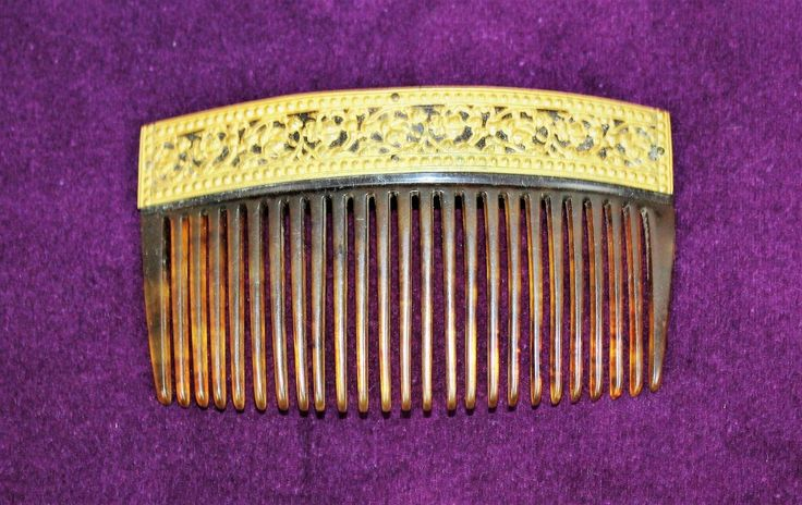 ANTIQUE INTRICATE VICTORIAN GOLD GILDED CELLULOID FAUX TORTOISE HAIR COMB | eBay